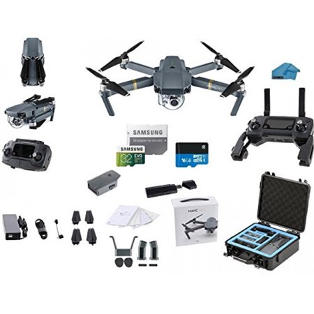 DJI Mavic Pro Drone Quadcopter 4K Professional Camera Gimbal Bundle Kit with 32GB SD Card + 3.0 Card Reader, Landing Gear, Prop Guards and Must Have Accessories with HardCase