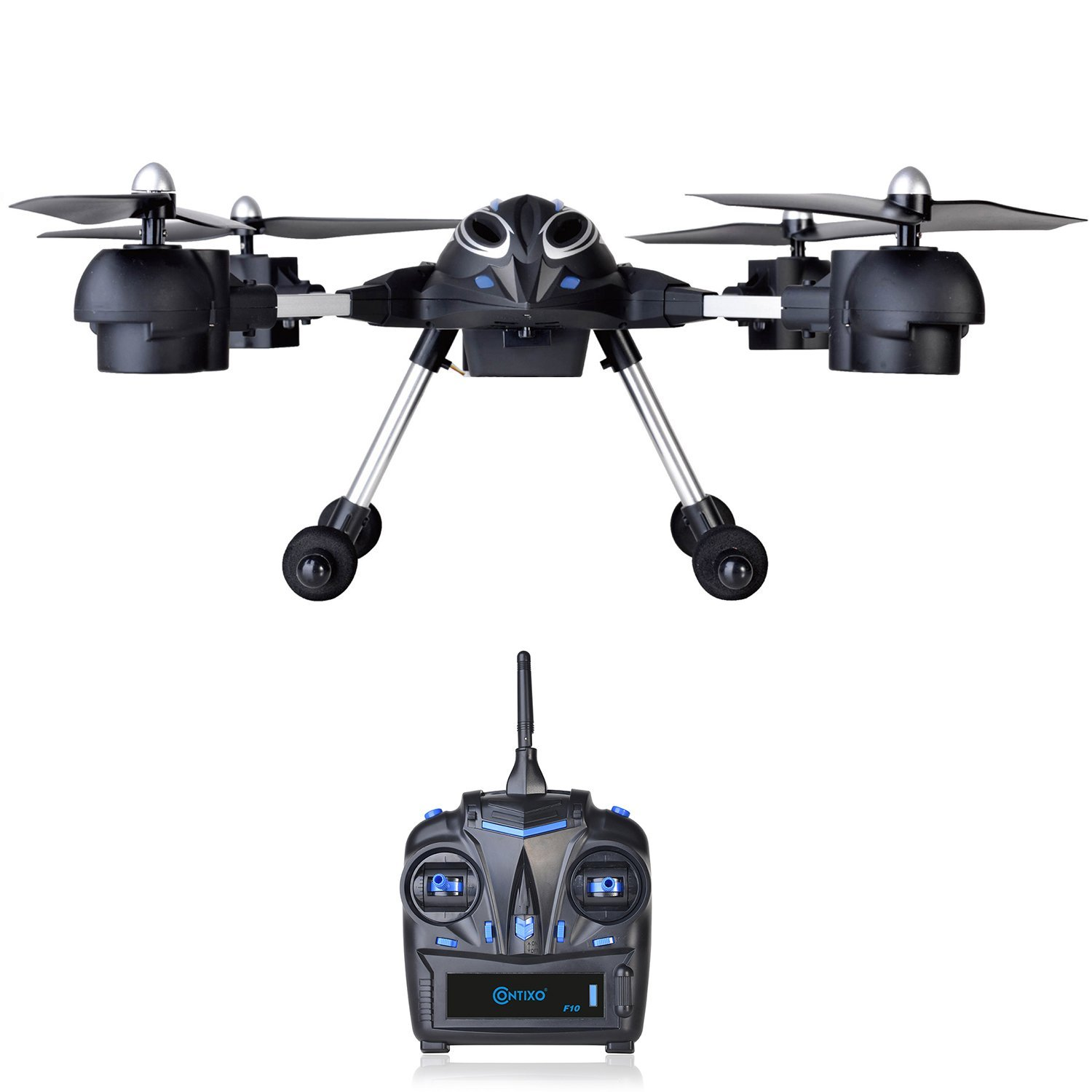 Contixo F10 Quadcopter RC Drone, 4 Channel, 2.4GHz, 6 Axis Gyro RTF, Support GoPro