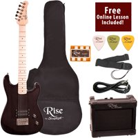 Rise by Sawtooth Right-Handed Transparent Black 3/4 Size Beginner's Electric Guitar with Amp, Picks, Cable, Strap, Pitch Pipe, Gig Bag Soft Case & Free Online Lesson
