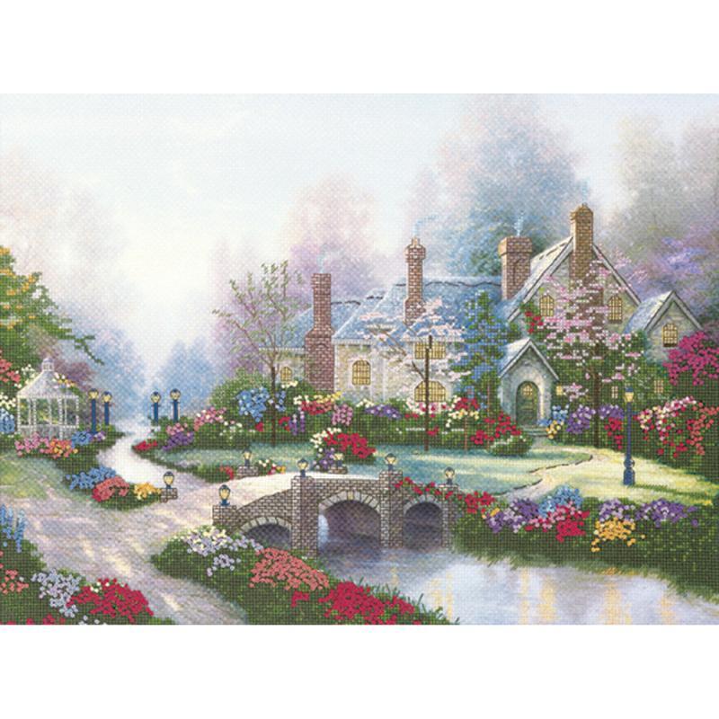 "Thomas Kinkade Beyond Spring Gate Embellished Cross Stitch K-12""x16"" 14 Counted"