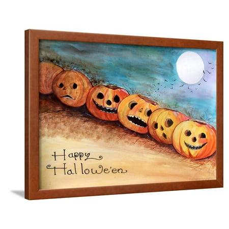 Halloween Graph Art (Five Pumpkins in a Row Halloween Framed Print Wall Art By sylvia)