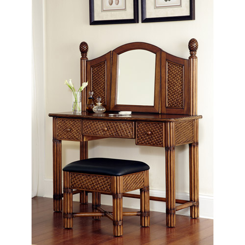 Home Styles Marco Island Vanity and Bench, Cinnamon