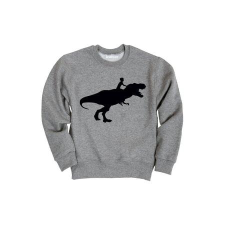 Ride T-shirt Sweatshirt - Kid Riding Dinosaur-TODDLER CREW FLEECE