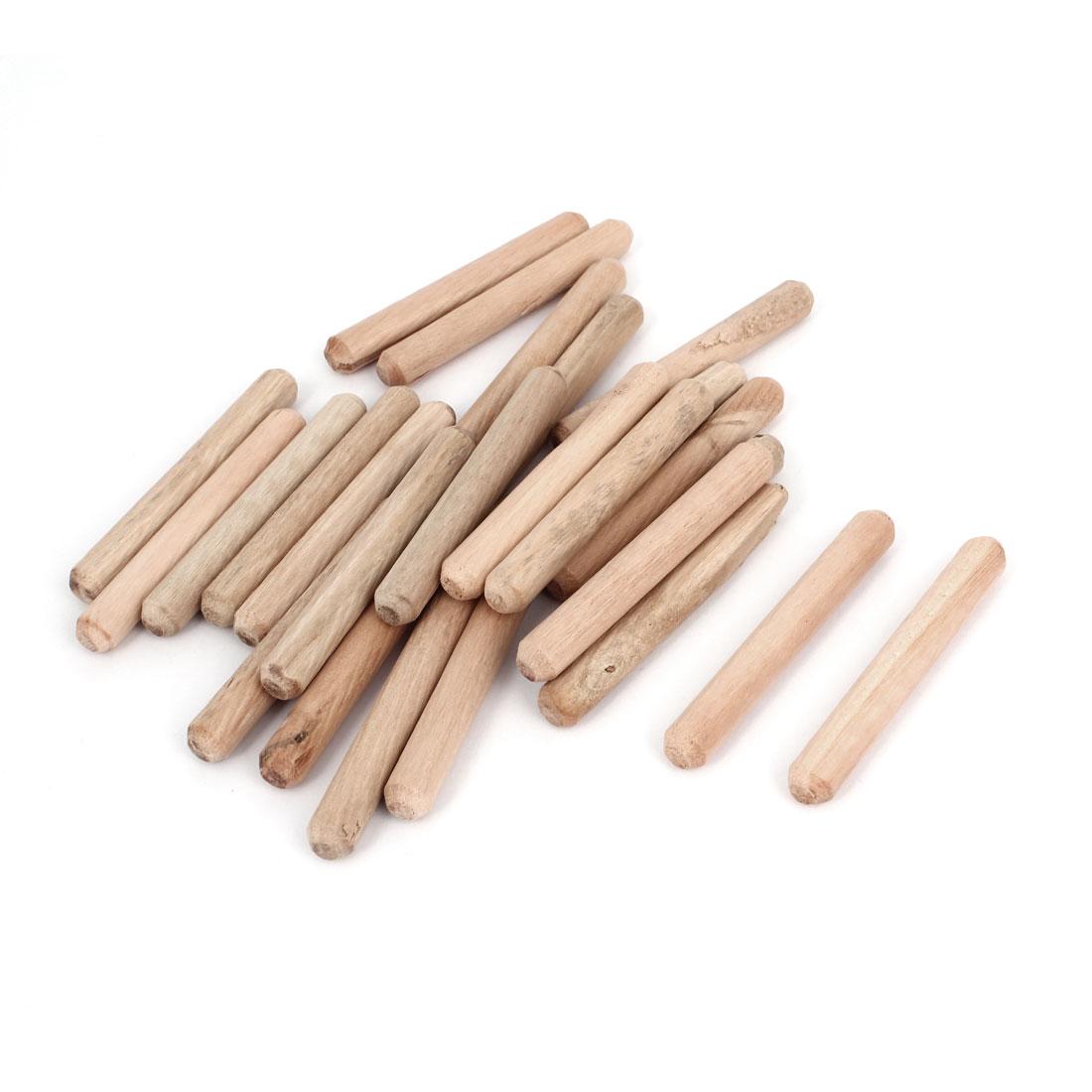 25 Pcs Furniture Cabinet Door Drawer Wooden Dowels Pins 60mm x 8mm