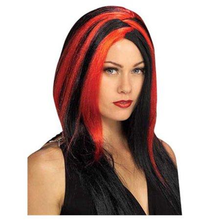 Womens  Vampire Costume Black and Red Stripe Wig (Vampire Wig)
