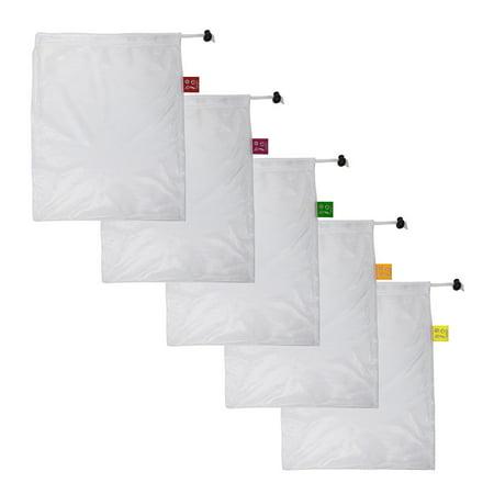 Spigo Reusable and Washable Mesh Produce Bags, 5 Count, 12x14 Inches - Bulk Reusable Shopping Bags