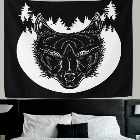 Popcreation Wolf Wall Decor Cartoon Black Fabric Tapestry Throw Dorm Bedroom Art Home Hanging 51x60 Inches
