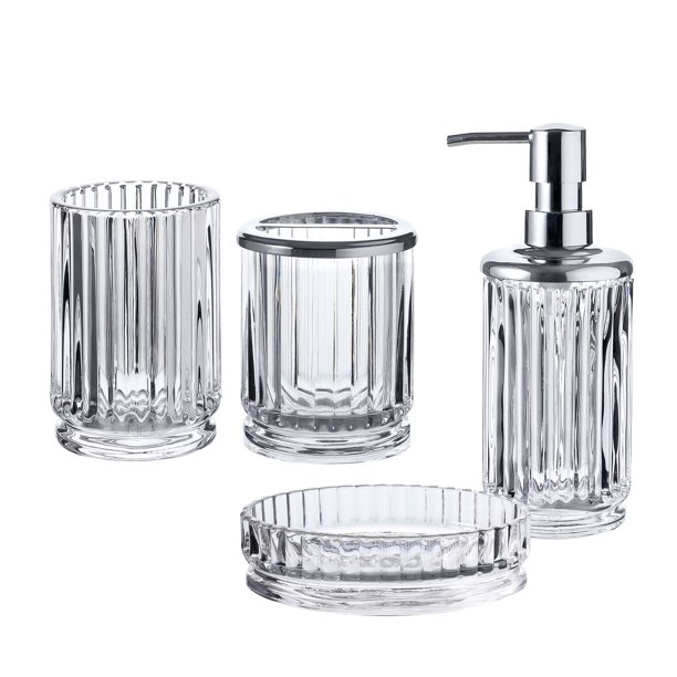 Piece Glass Bath Accessory Completes, Glass Bathroom Accessories Sets