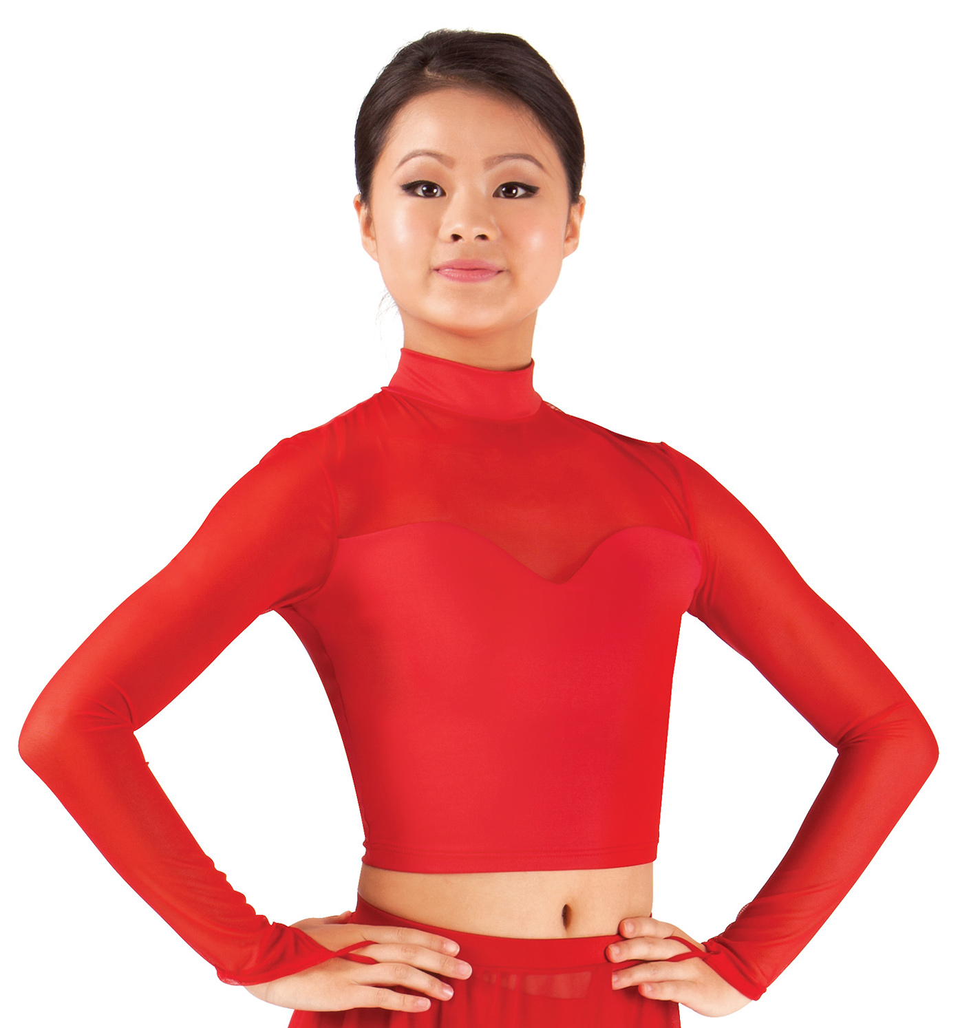 Image of Adult Mock Neck Long Sleeve Crop Dance Top