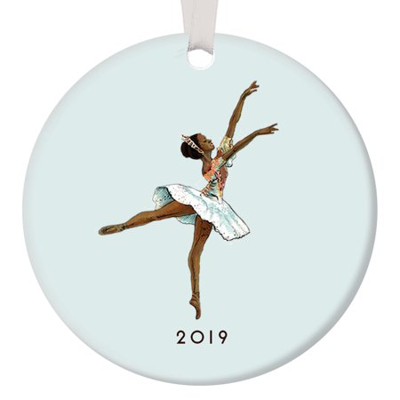 Dark Skin Ballerina Ornament 2019, Black Nutcracker Ballet Sugarplum Fairy Porcelain, African American Ballerina 3