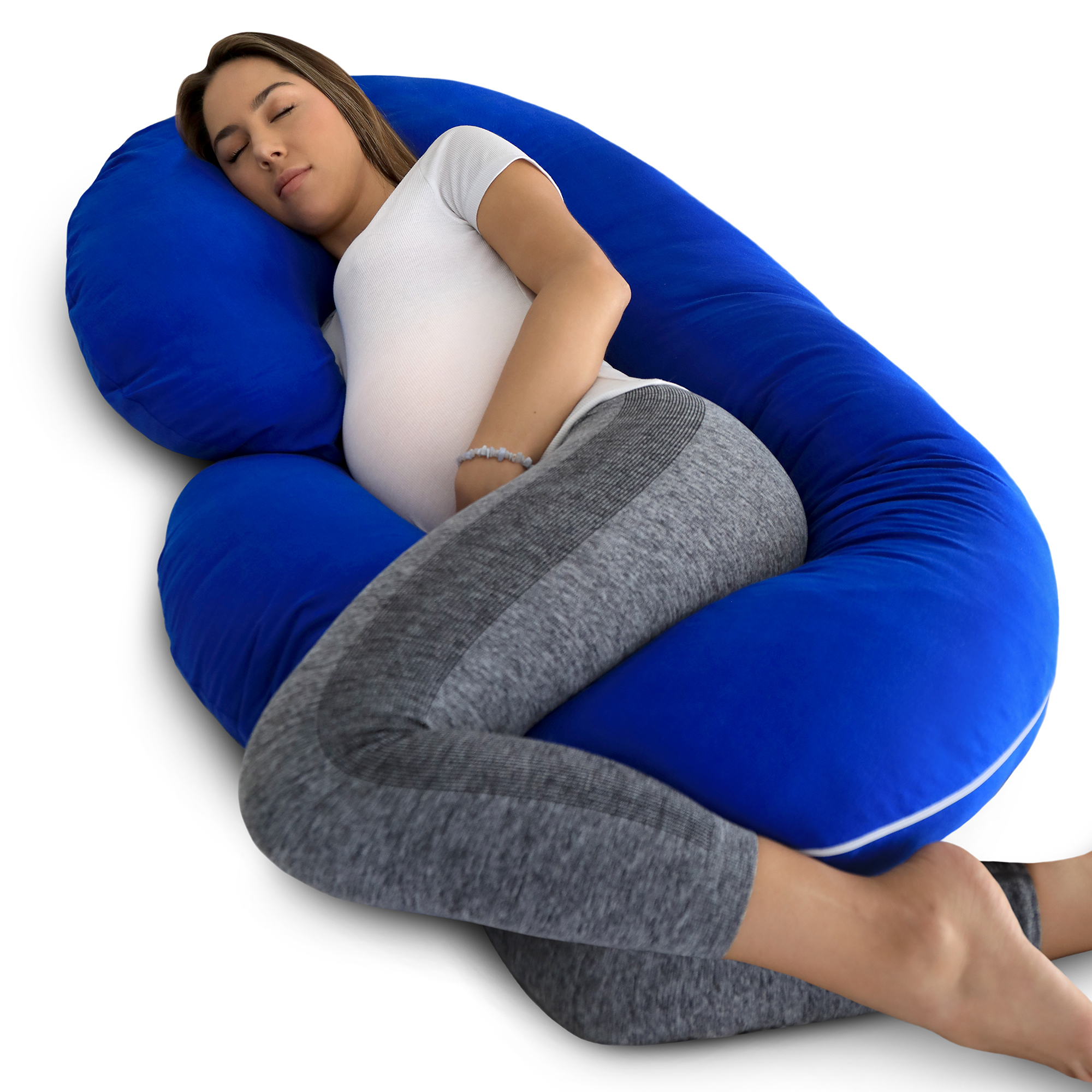 PharMeDoc Pregnancy Pillow with BLUE Jersey Cover - C Shaped Body Pillow for Pregnant Women