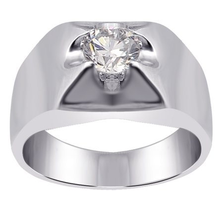 1.3 Ctw Lab Created Round Cut White Cubic Zirconia Ring, April Birthstone Prong 925 Sterling Silver Ring, Best Gift For