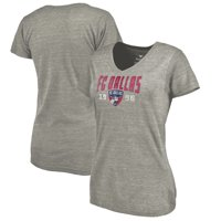 FC Dallas Fanatics Branded Women's Antique Stack Tri-Blend V-Neck T-Shirt - Heathered Gray
