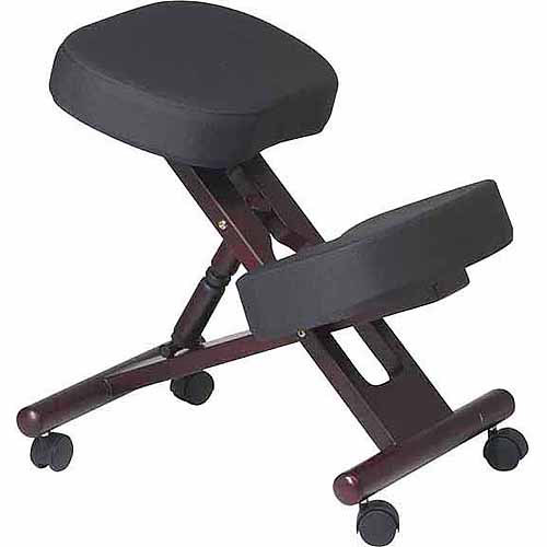 Office Star Ergonomically Designed Wood Knee Chair with Memory Foam and Wheels