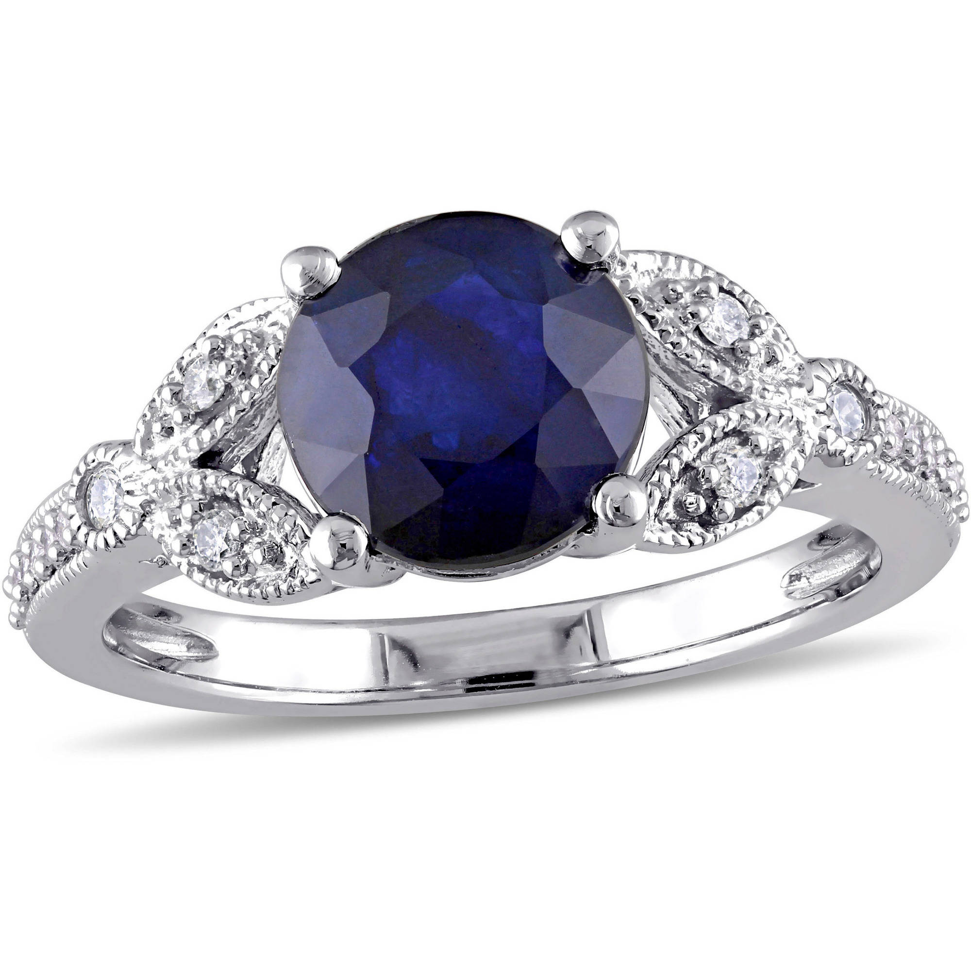 Tangelo 2-1 3 Carat T.G.W. Diffused Sapphire and 1 7 Carat T.W. Diamond 10kt White Gold Vintage Engagement Ring by Tangelo