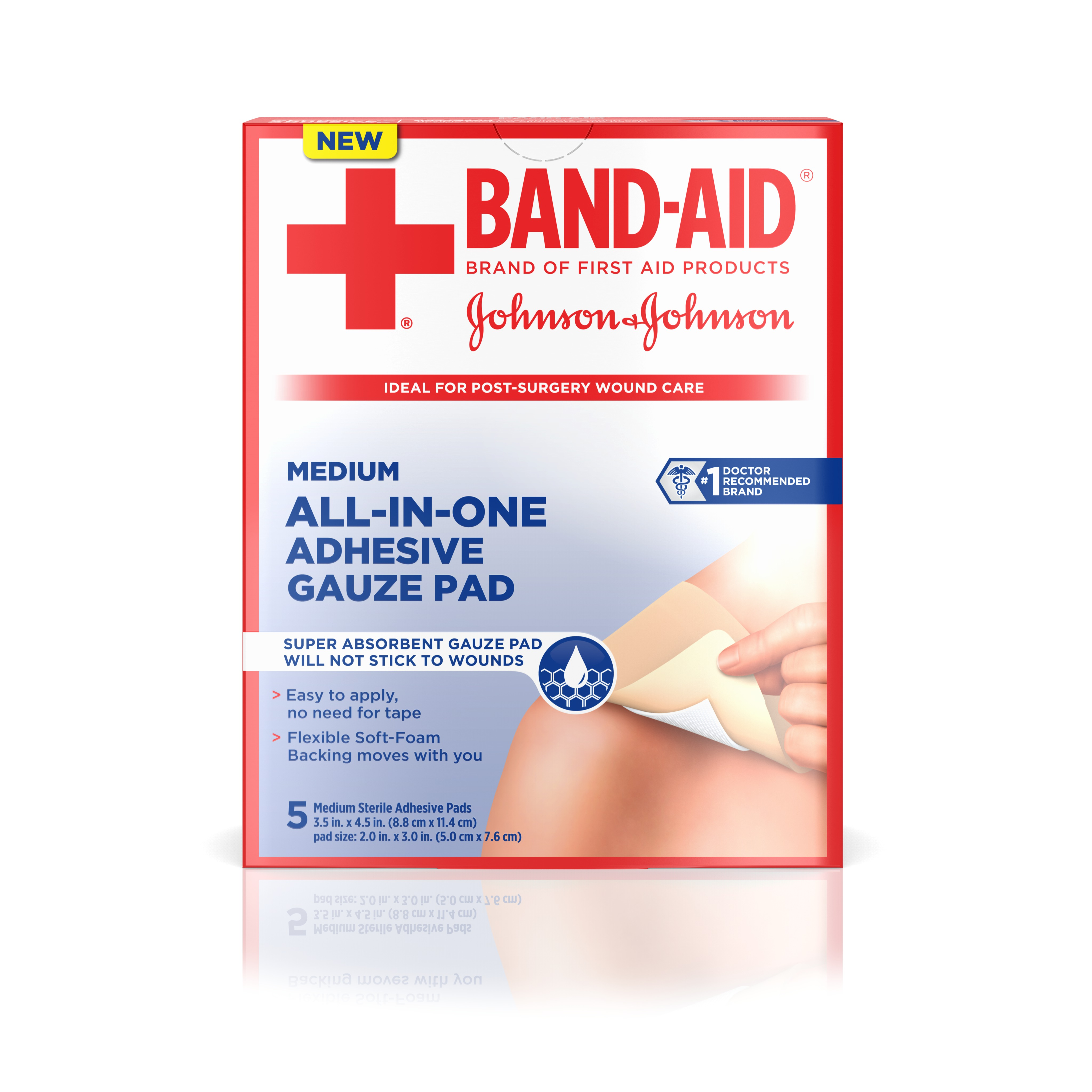Band-Aid Brand of First Aid Products All-in-One Adhesive Gauze Pad Helps to Keep Wounds Clean, Medium