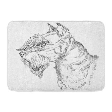 GODPOK Canine Adult Miniature Schnauzer Dog Hand Drawing in Black Color White Animal Cheerful Rug Doormat Bath Mat 23.6x15.7 inch (Black White Miniature Schnauzer)