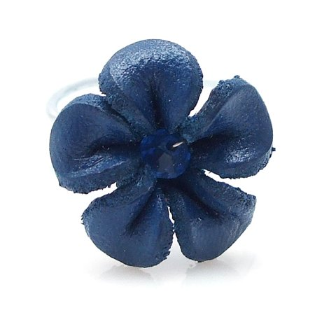 Navy Blue Pretty Jasmine Genuine Leather Floral Ring - Cheap Pretty Rings