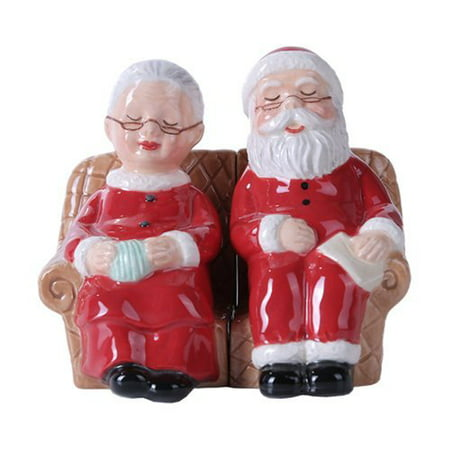 4.75 inches Mr. and Mrs Claus Christmas Magnetic Salt and Pepper Shaker Kitchen Set