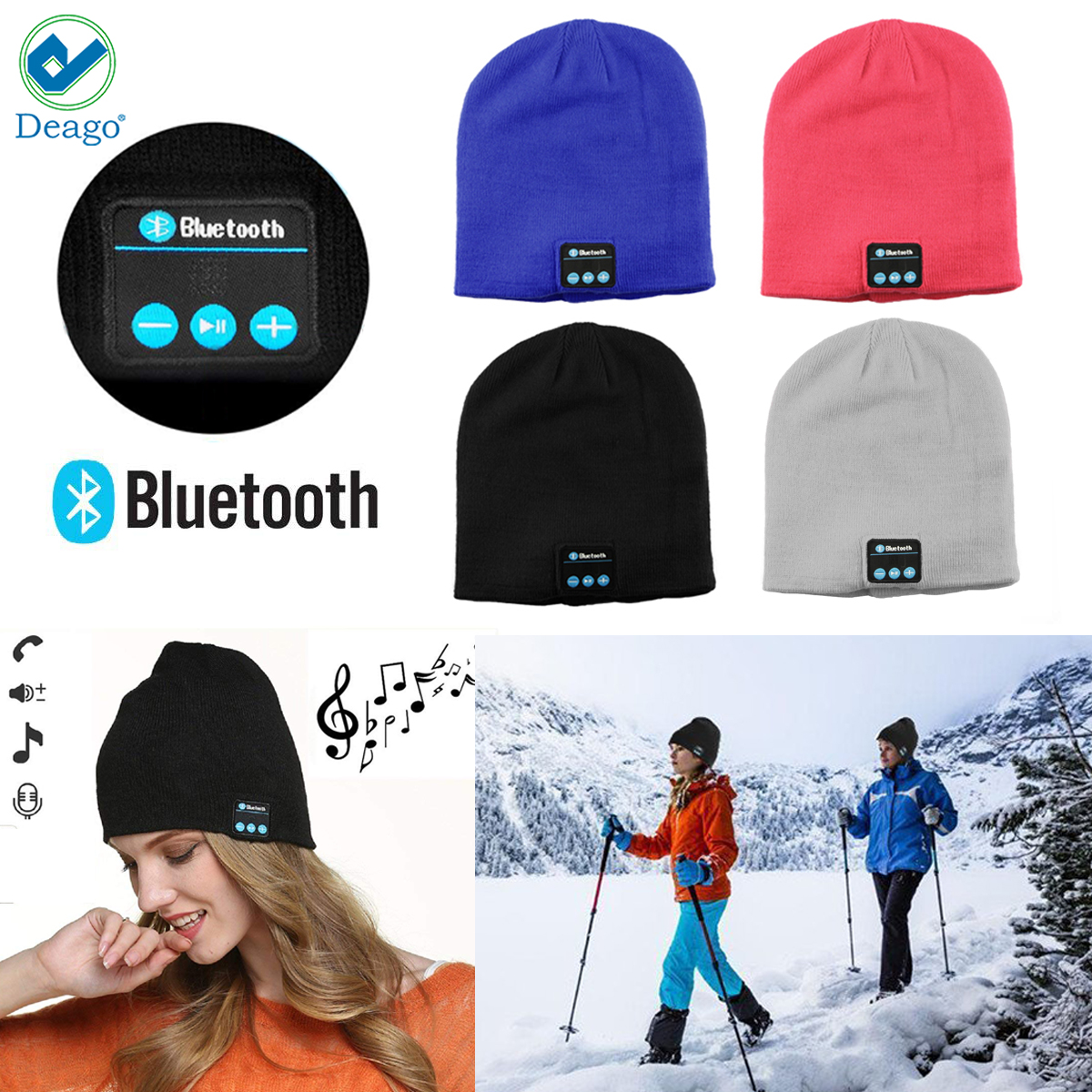 Deago Bluetooth Headphones Beanie Knit Hat Cap Wireless Running Music Hat with 2 Speakers & Mic Headset for Unisex Men Women / Black