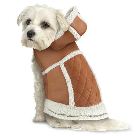 Warm Quilted Faux Suede Winter Dog Coat with Hood - Sherpa Lining and Fleece Trim with Easy On/Off Closures, Medium, Camel
