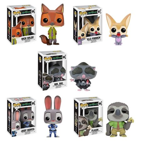 Nick Wilde - Ele-Finnick - Mr. Big - Judy Hopps - Flash |  Zootopia  Funko Pop Vinyl Figure Animal Toy (Deluxe Collector Set of 5) |  Walt - Boys Of Nick And Disney