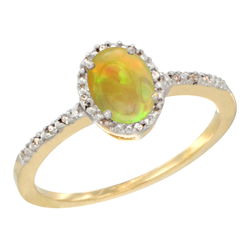 10K Yellow Gold Diamond Natural Ethiopian HQ Opal Engagement Ring Oval 7x5 mm, sizes 5 - 10