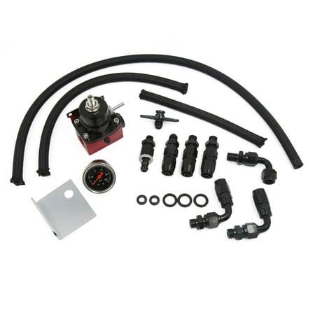 Universal Adjustable Fuel Pressure Regulator Oil 100Psi Gauge An 6 Fitting Kit