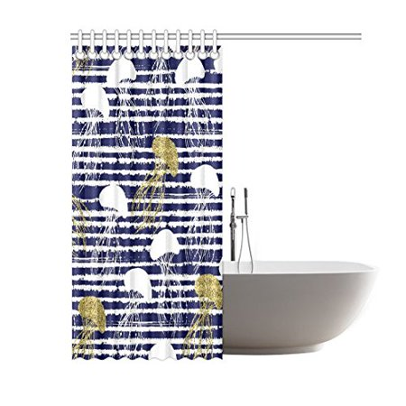 GCKG Sea Animal Stripes Shower Curtain, Golden Glitter Jellyfish Polyester Fabric Shower Curtain Bathroom Sets with Hooks 60x72 Inches - image 2 de 3