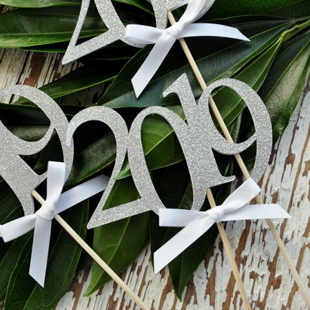 Silver 2019 Graduation Centerpiece Sticks with Bows. (3 Single - 2019 Wands). Graduation Centerpiece. 2019 Centerpiece. - College Graduation Centerpieces