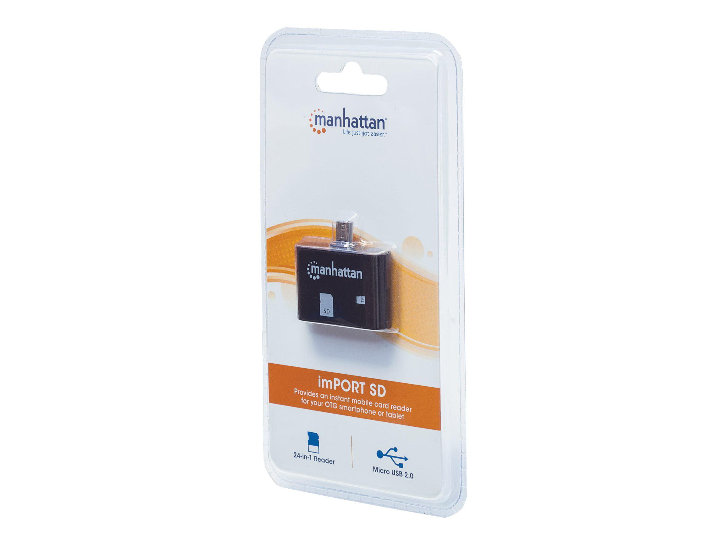 New USB2.0 Micro-B 24-in-1 Card Reader//Writer Mobile OTG Adapter Manhattan 406208