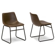 Marvelous Set Of 2 Adan Iron Frame Dark Brown Faux Leather Dining Chair Creativecarmelina Interior Chair Design Creativecarmelinacom