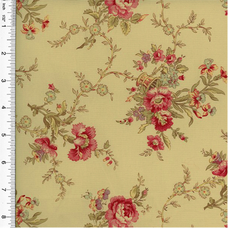 Designer Cotton Beige/Pink Floral Print Decorating Fabric, Fabric By the Yard