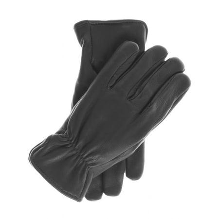 Geier Glove Men's Lined Deerskin Gloves with Elastic Wrist Gather