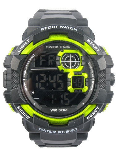 Ozark Trail Black Digital Watch with black reverse display and green accents