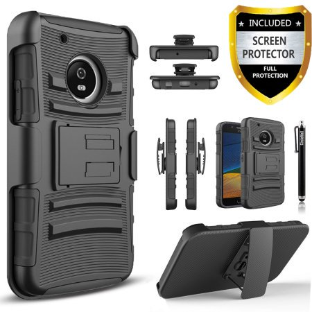 Motorola Moto G5s Plus Case  Dual Layers  Combo Holster  Case And Built In Kickstand Bundled With  Premium Screen Protector  Hybird Shockproof And Circlemalls Stylus Pen  Black