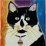 Continental Art Center Cat in Black/White Tile Wall Decor