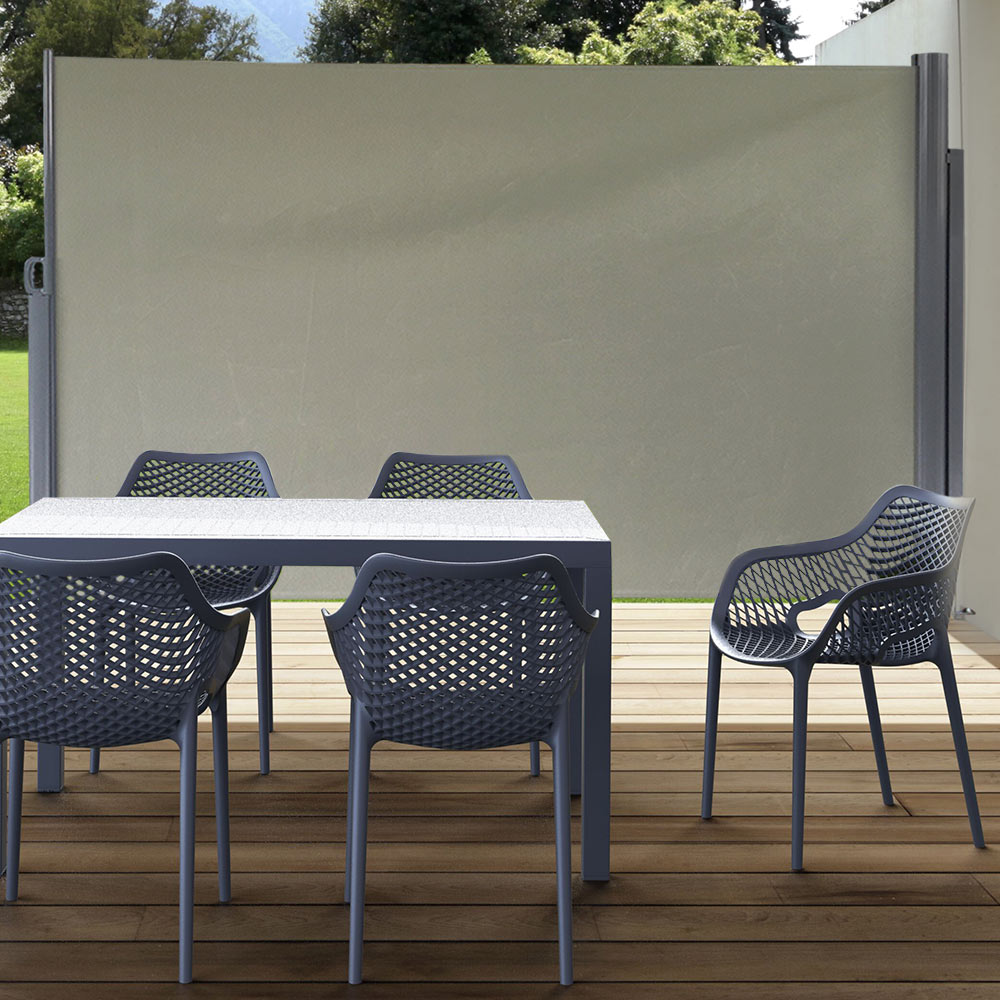 Sunnydaze Patio Retractable Privacy Wall Folding Screen Divider With Steel  Support Pole 10 X 6 Feet, Grey   Walmart.com