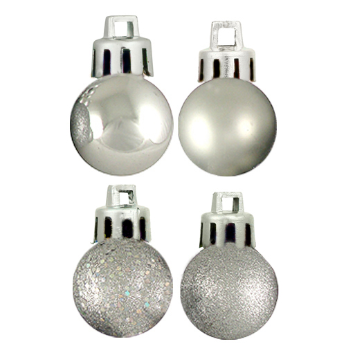 "18ct Silver Splendor 4-Finish Shatterproof Christmas Ball Ornaments 1.25"" (30mm)"
