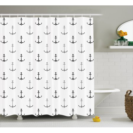 Anchor Shower Curtain, Monochrome Figures with Little Hearts Hipster Hand Drawn Tattoo Art Style Retro, Fabric Bathroom Set with Hooks, 69W X 70L Inches, Black White, by Ambesonne