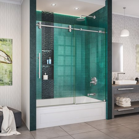 DreamLine Enigma-XO 55-59 in. W x 62 in. H Fully Frameless Sliding Tub Door in Brushed Stainless Steel