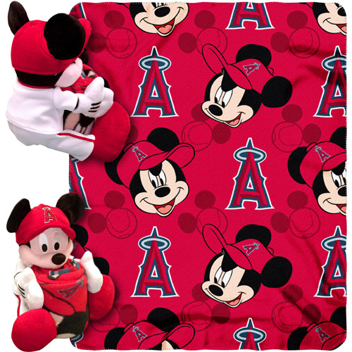 """Disney MLB Pitch Crazy Hugger Pillow and 40"""" x 50"""" Throw Set, Los Angeles Angels"""