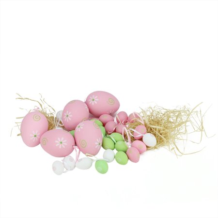 Set of 29 Pastel Pink Green and White Painted Floral Spring Easter Egg Ornaments 3.25