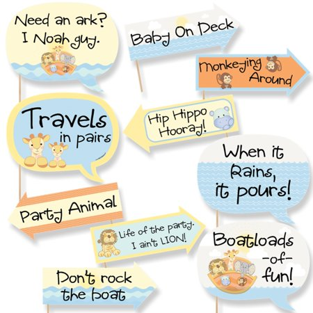 Funny Noah's Ark - Baby Shower Photo Booth Props Kit - 10 (Noah's Ark Baby Shower Theme)