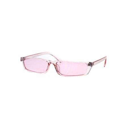 Womens Pop Color Narrow Rectangular Cat Eye Clear Frame Plastic Sunglasses (Narrow Frame Sunglasses)