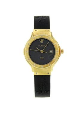 Pre-Owned Hublot MDM Geneve 18K Yellow Gold Black Dial Rubber Quartz Ladies Watch 1391.3
