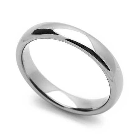 Women's 4MM Comfort Fit Tungsten Carbide Wedding Band Classic Domed Ring (5 to 12) Classic Comfort Fit Wedding Band