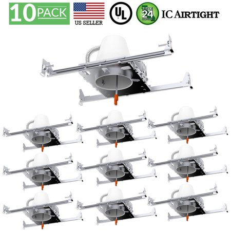 - Sunco Lighting 10 Pack 4 Inch New Construction LED Can Air Tight IC Housing, Recessed Lights, LED Downlight, For Retrofit Kit, Electrician Prefered - UL Listed and Title 24 Certified (TP24)