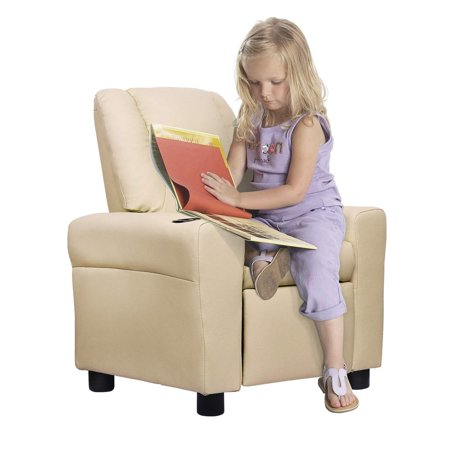 Incredible Windaze Kids Recliner For Little Boys Girls Small Sofa Chair With Cup Holder Soft Headrest For Boys Girls Beige Bralicious Painted Fabric Chair Ideas Braliciousco