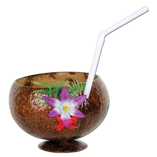 Club Pack of 12 Dark Brown Tropical Island Coconut with Flower Drinking Party Cups 10 oz.